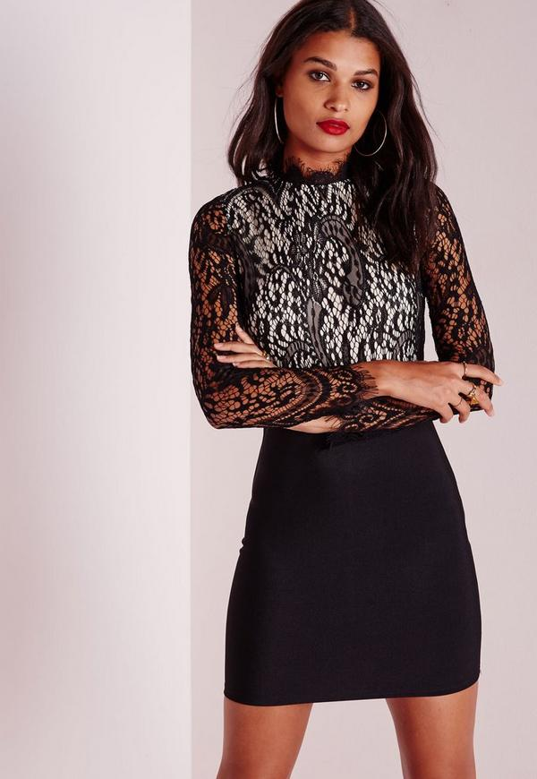 Floral Lace High Neck Bodycon Dress Black