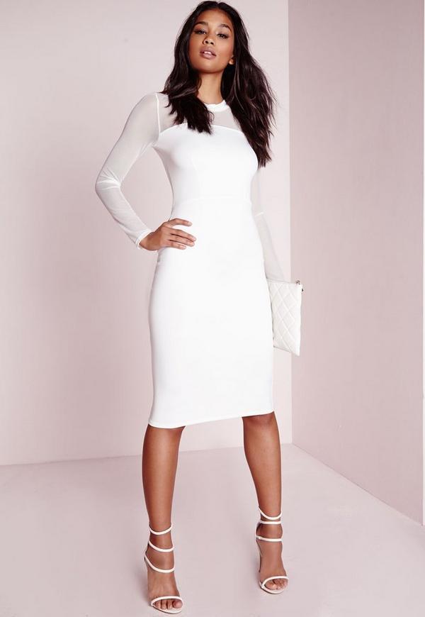Scuba Mesh Sleeve Midi Dress White