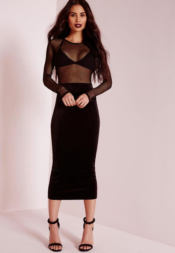 Velvet Fishnet Insert Midi Dress Black