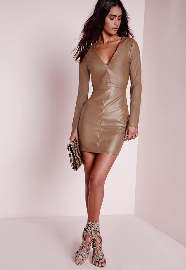 Faux Leather Plunge Bodycon Dress Taupe