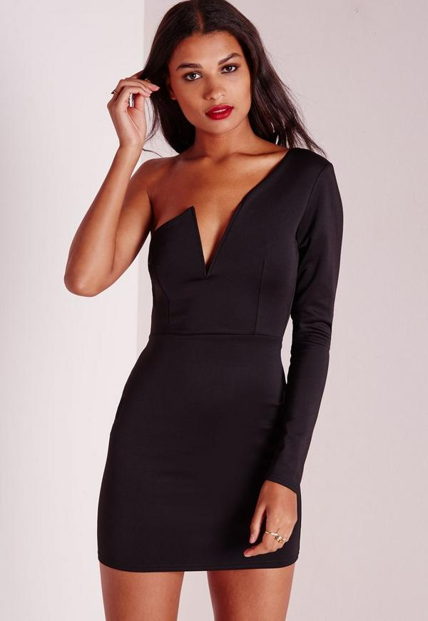 One Sleeve Bodycon Dress Black