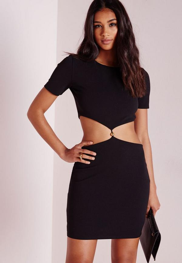 Short Sleeve Cut Out Waist Bodycon Dress Black