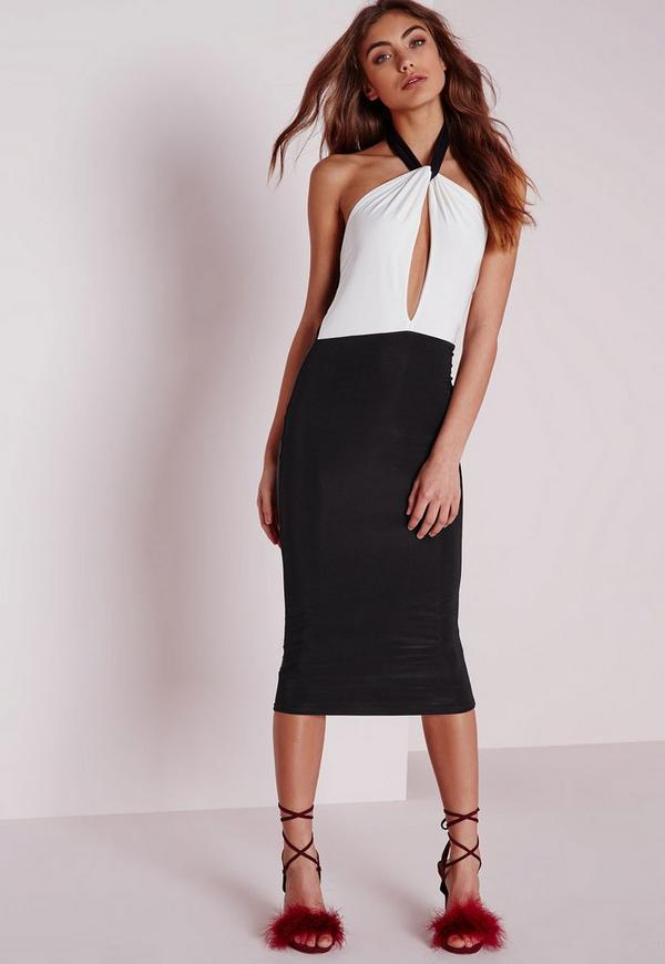 Slinky Bodycon Dress Monochrome