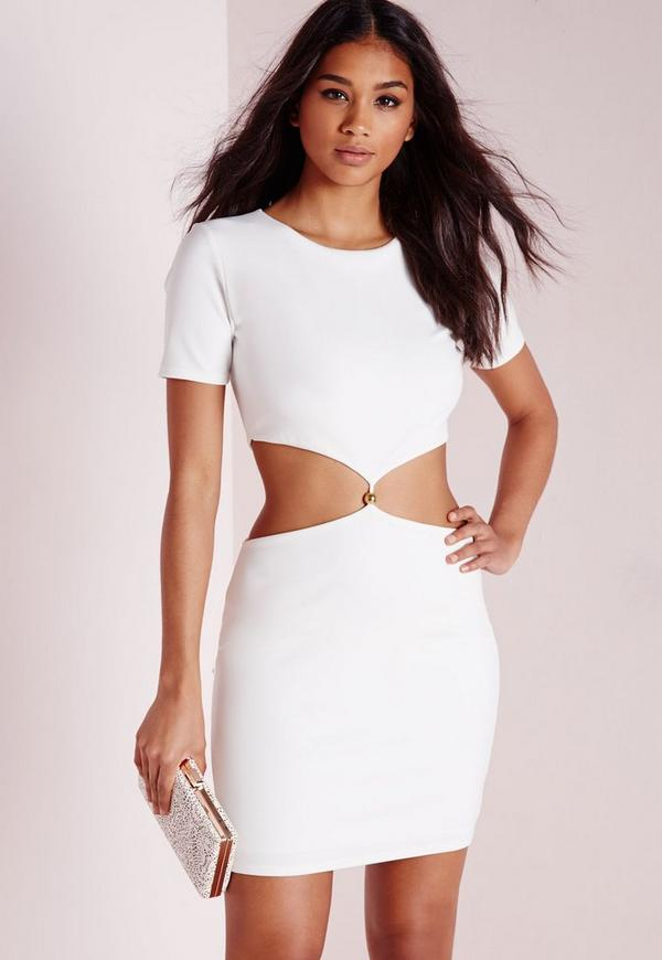 Short Sleeve Cut Out Waist Bodycon Dress White