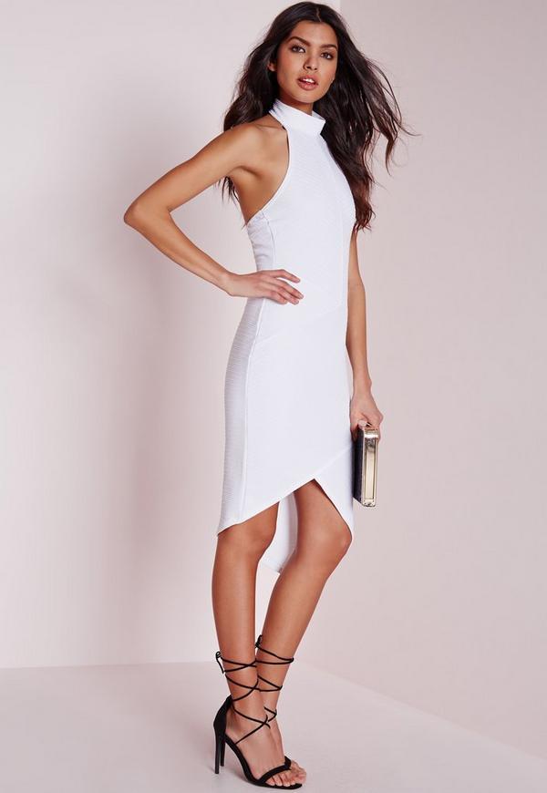 Choker Asymmetric Hem Bodycon Dress White