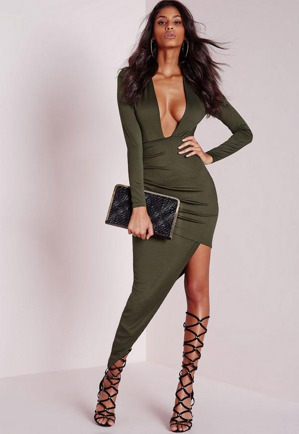 Long Sleeve Plunge Asymmetric Hem Bodycon Dress Khaki