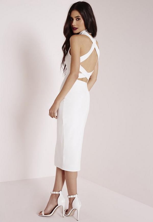 Back Detail Bodycon Dress White