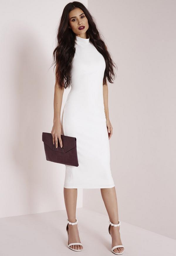 robe blanche moulante avec lani res crois es au dos missguided. Black Bedroom Furniture Sets. Home Design Ideas