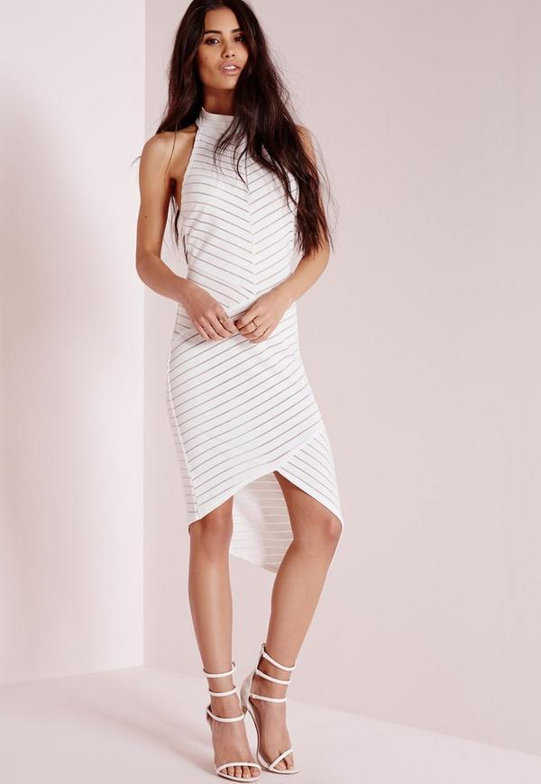 Striped Mesh Sleeveless Bodycon Dress White