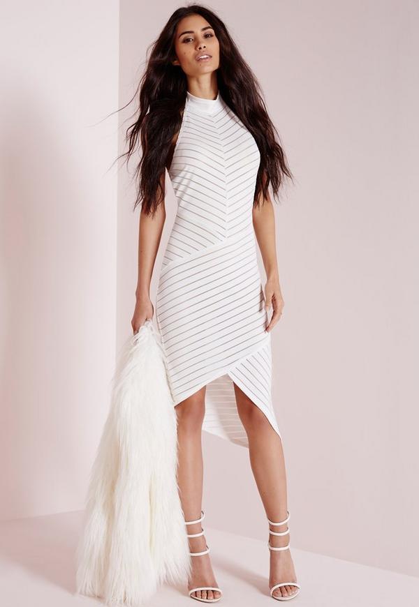 Indian Sleeveless Collarless Dresses Stripes Bodycon taylor catalogs tummy