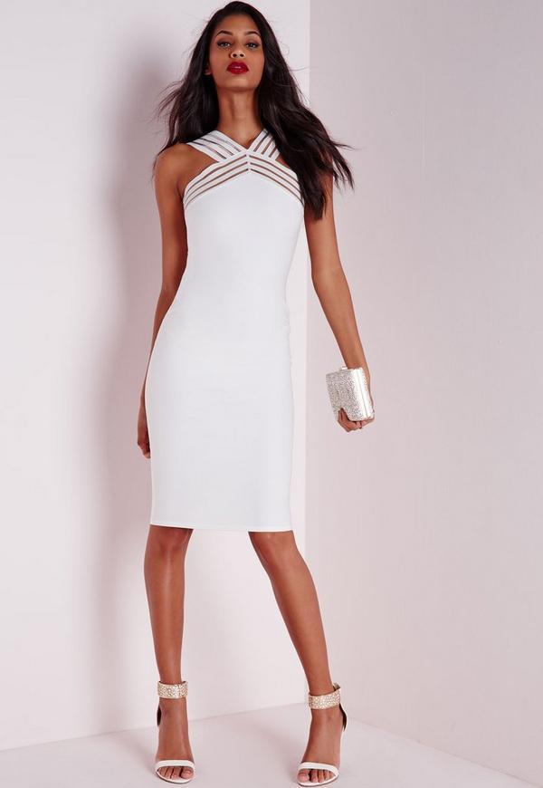 Mesh Strap Detail Midi Dress White