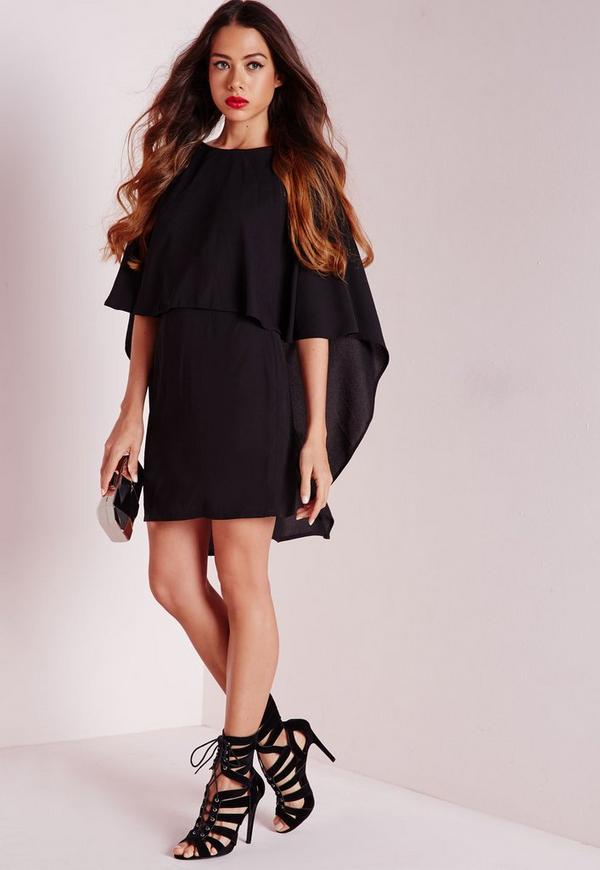 Crepe Cape Bodycon Dress Black