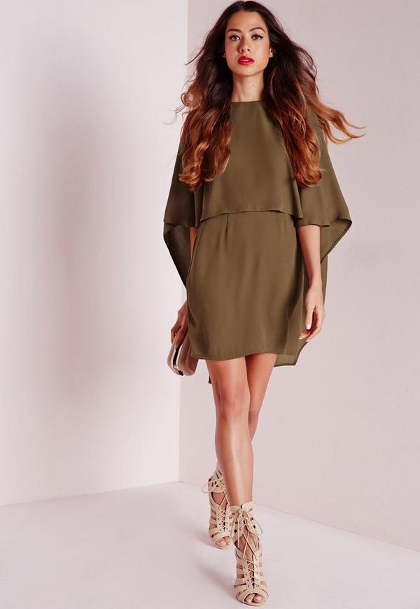 Crepe Cape Bodycon Dress Khaki