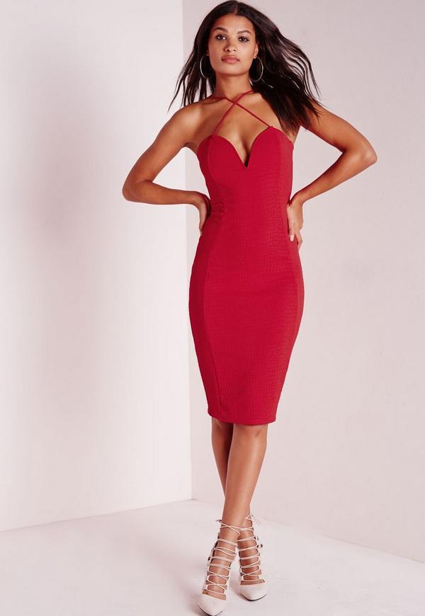 Croc Textured Plunge Midi Dress Red
