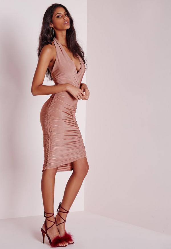Slinky Ruched Halterneck Bodycon Dress Nude