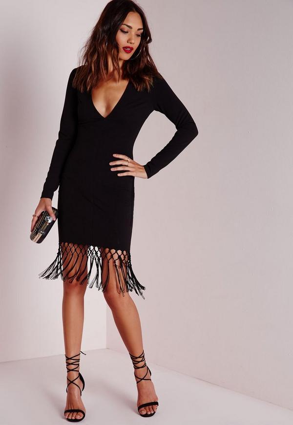 Long Sleeve Fringed Hem Bodycon Dress Black