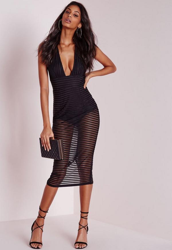 Striped Burnout Midi Dress Black