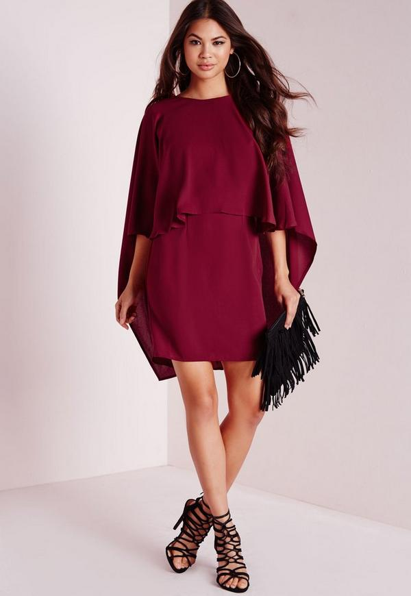 Crepe Cape Bodycon Dress Burgundy