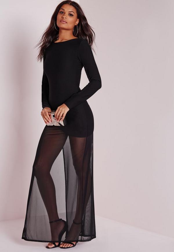 Mesh Overlay Maxi Dress Black