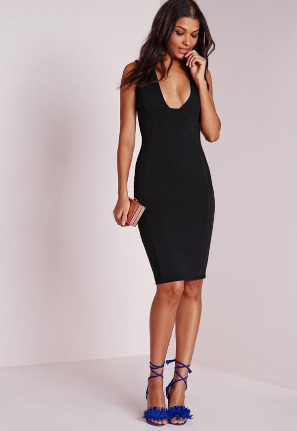 Square Plunge Midi Dress Black