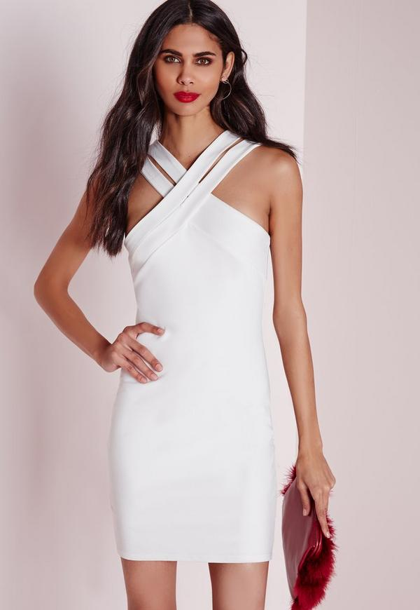 Double Cross Strap Bodycon Dress White