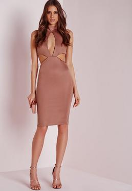 Bandage Sleeveless Keyhole Cut Out Midi Dress Rose