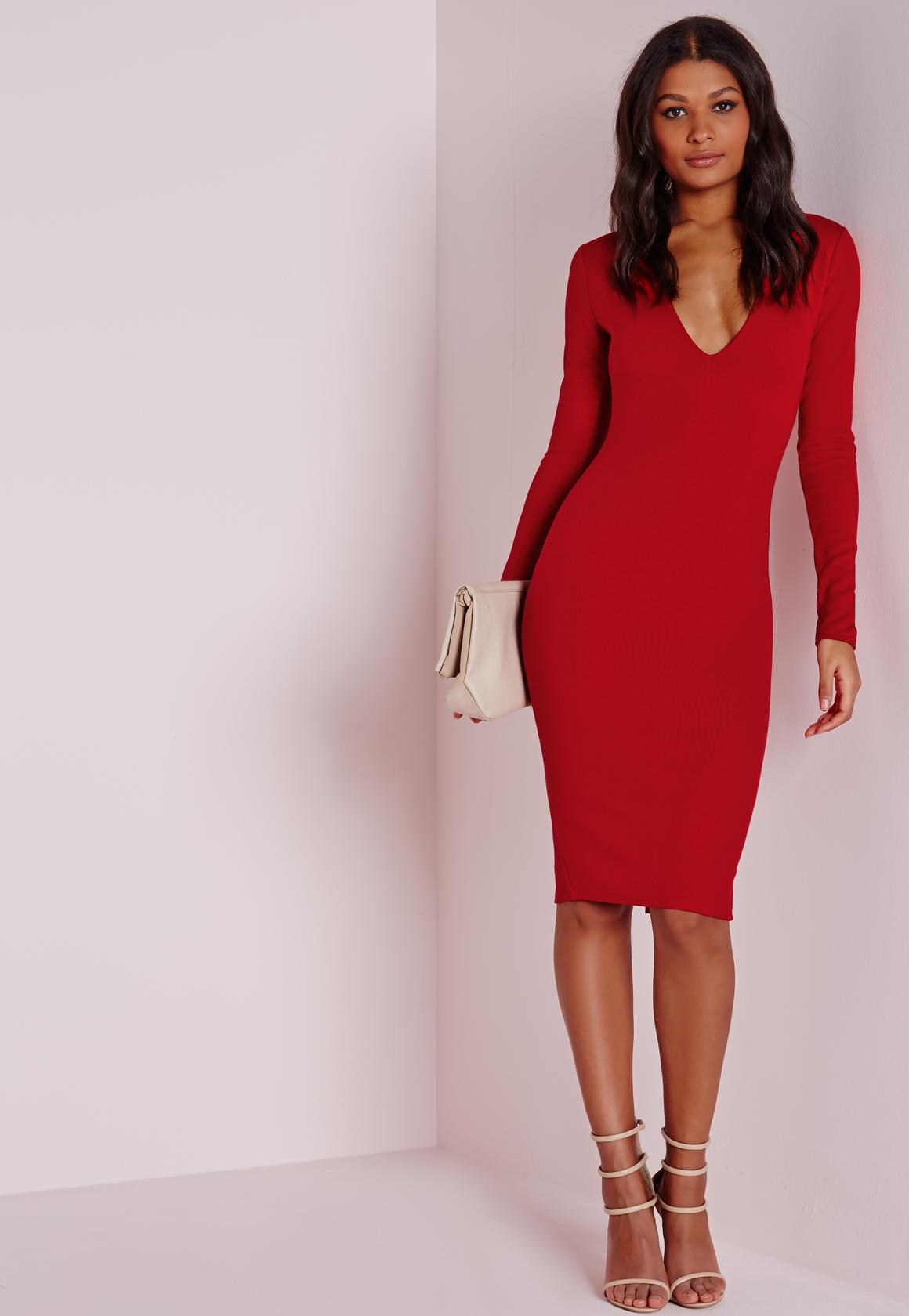 Ponte Long Sleeve Plunge Midi Dress Red | Missguided