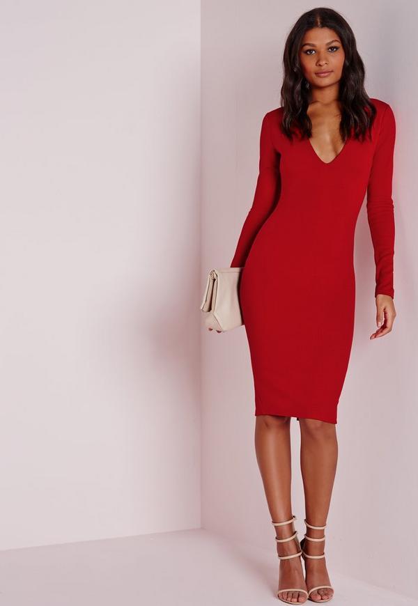 Ponte Long Sleeve Plunge Midi Dress Red