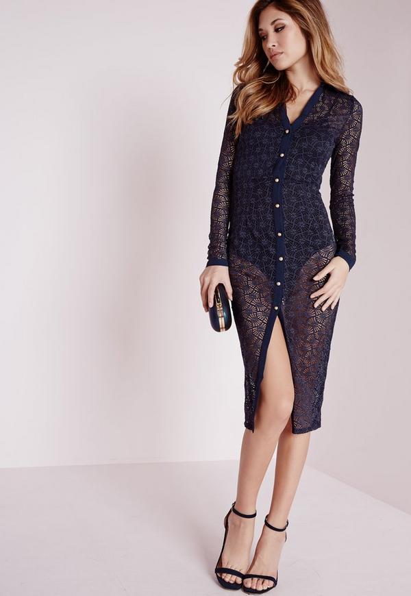 Lace Midi Shirt Dress Navy