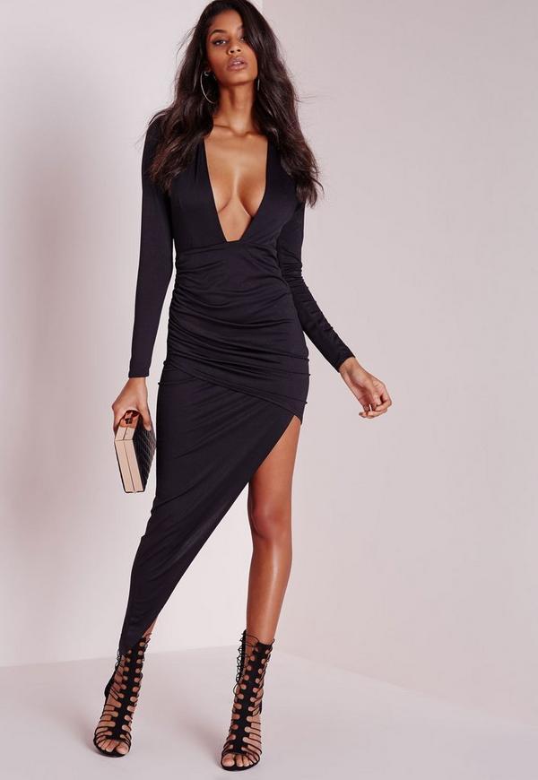 Long Sleeve Plunge Asymmetric Hem Bodycon Dress Black