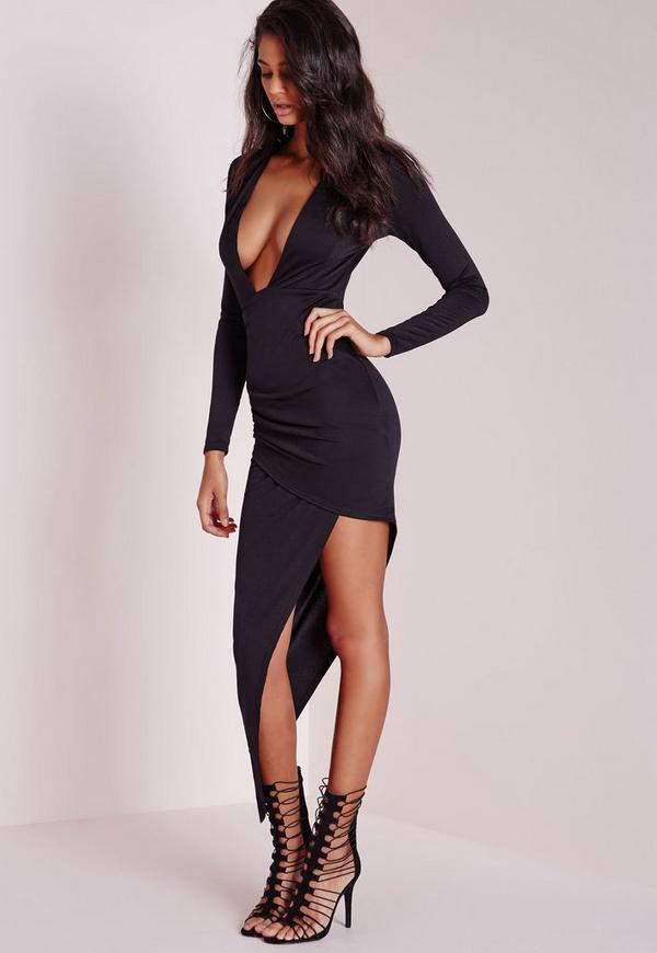 Dress plunge black sleeve bodycon long long sleeve knee
