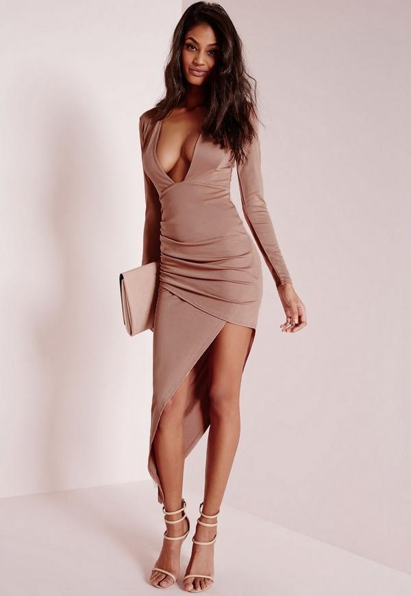 Long Sleeve Plunge Asymmetric Hem Bodycon Dress Rose Pink