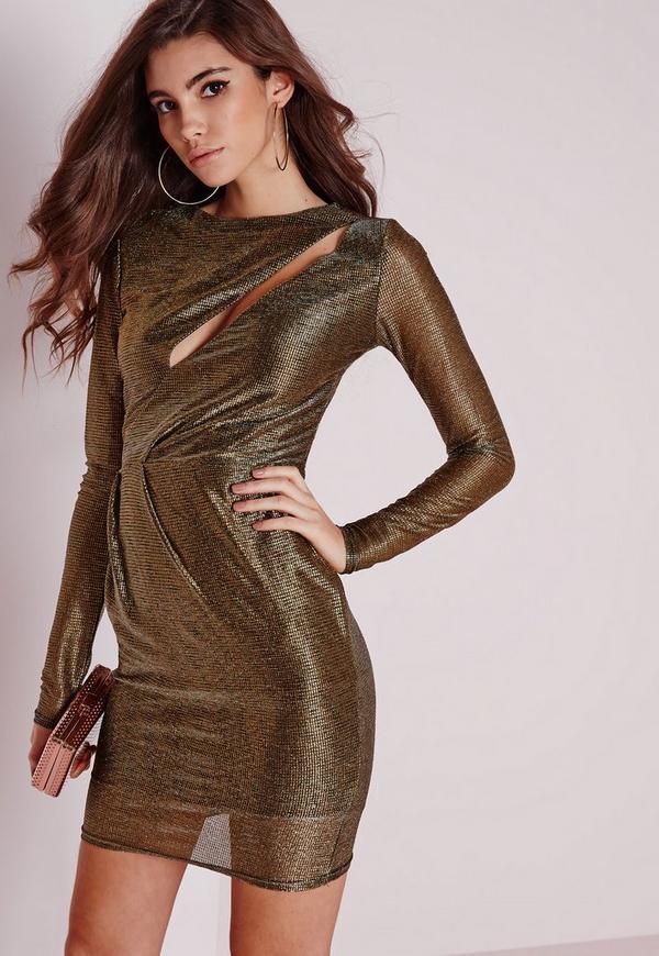 Front Slash Bodycon Dress Bronze