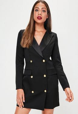 Czarna sukienka smokingowa z długimi rękawami