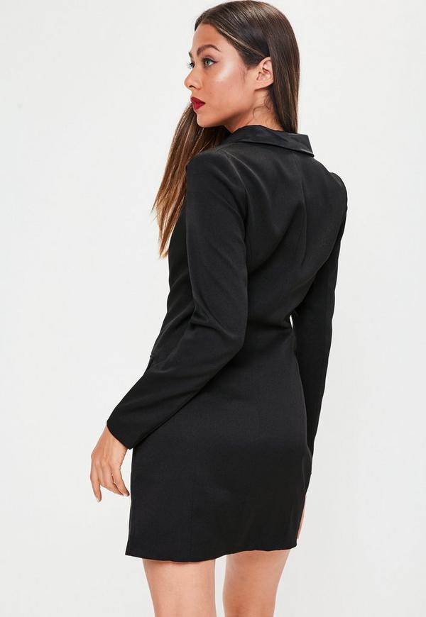 Long Sleeve Tux Dress Black Dresses Blazer Dresses
