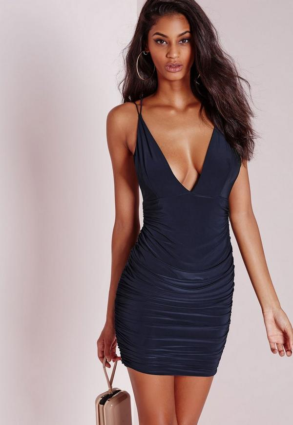 Slinky Double Strap Ruche Bodycon Dress Navy Blue