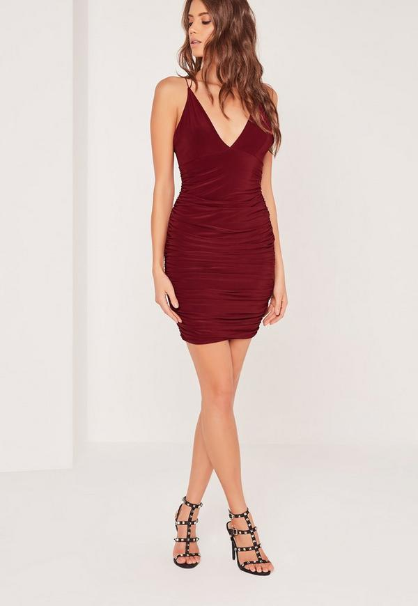 Slinky Double Strap Ruche Bodycon Dress Burgundy