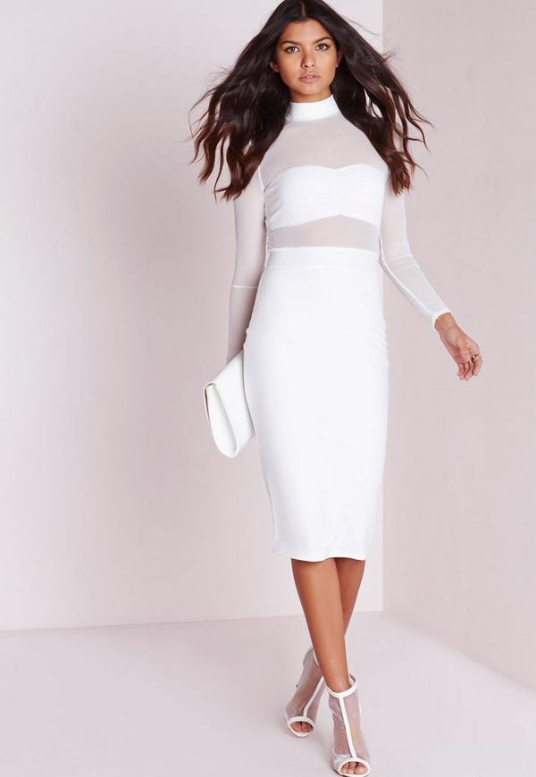 Long Sleeve Mesh Top Midi Dress White