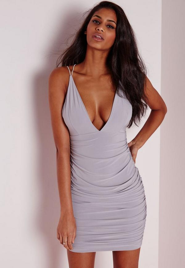 Slinky Double Strap Ruched Bodycon Dress Grey