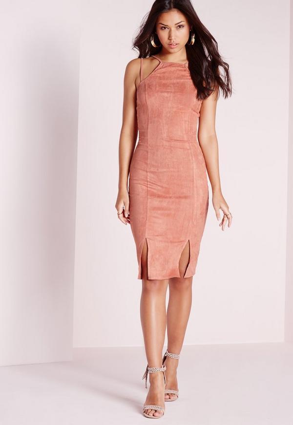 Faux Suede Double Strap Front Split Midi Dress Pink