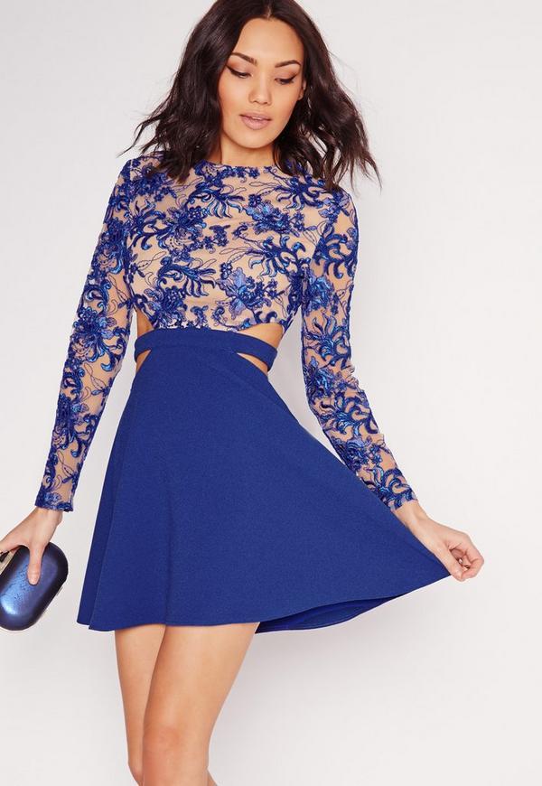 Premium Lace Top Cut Out Skater Dress Cobalt