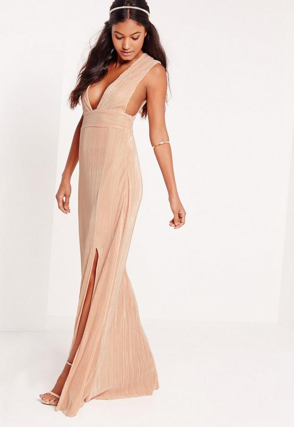 Pleated Plunge Maxi Dress Nude