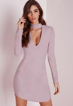 crepe choker curve hem cut out bodycon dress mauve