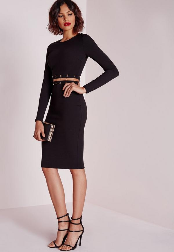 Long Sleeve Metal Trim Midi Dress Black