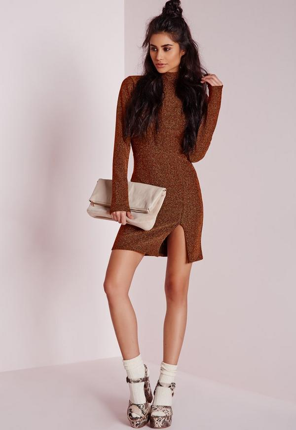 High Neck Bodycon Dress Copper