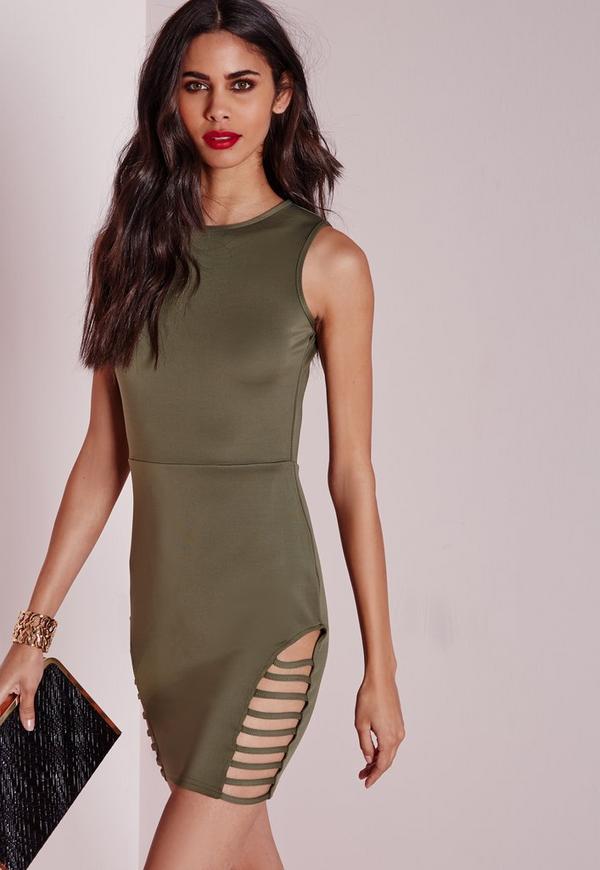 Sleeveless Cut Out Bodycon Dress Khaki