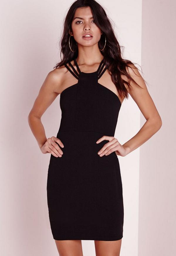 Strappy Neck Detail Bodycon Dress Black