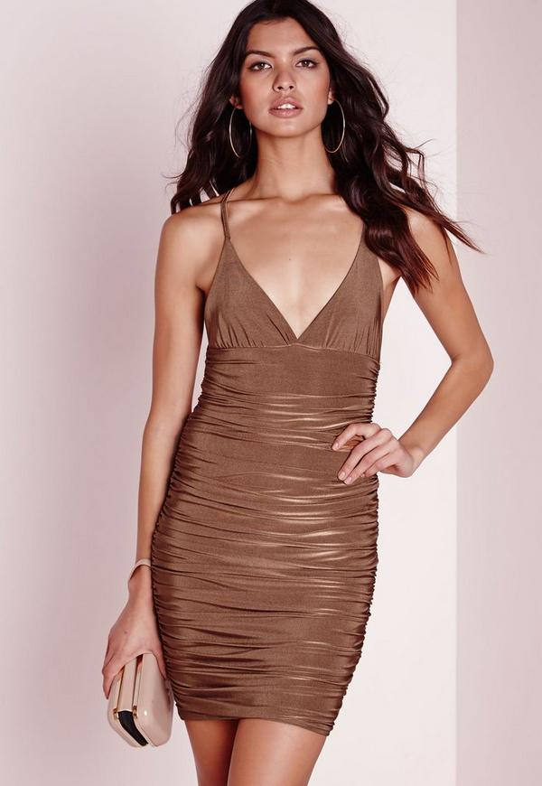 Slinky Ruched Side Bodycon Dress Gold