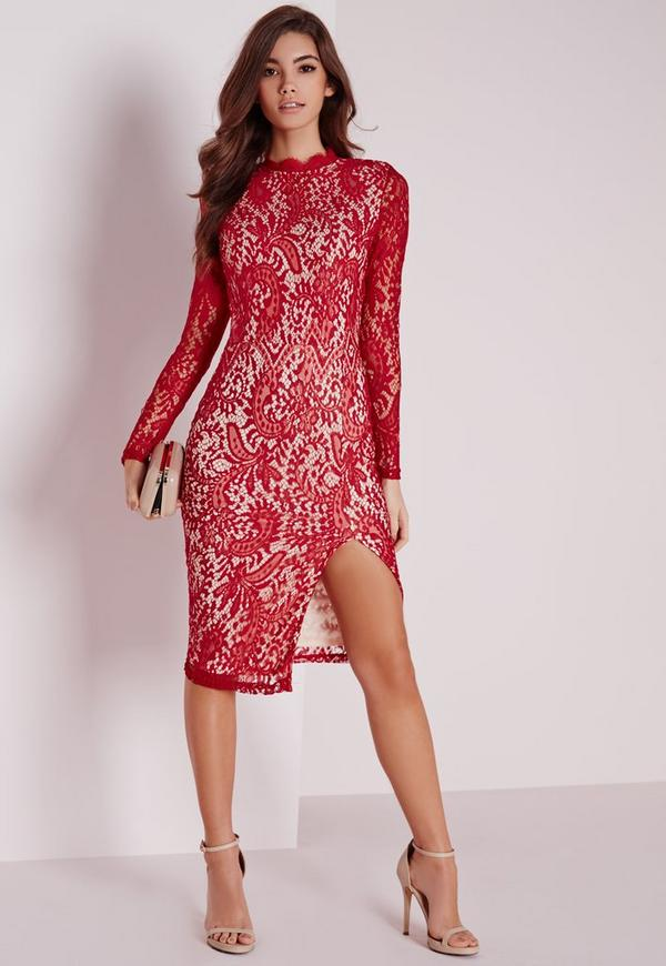 Lace High Neck Midi Dress Red