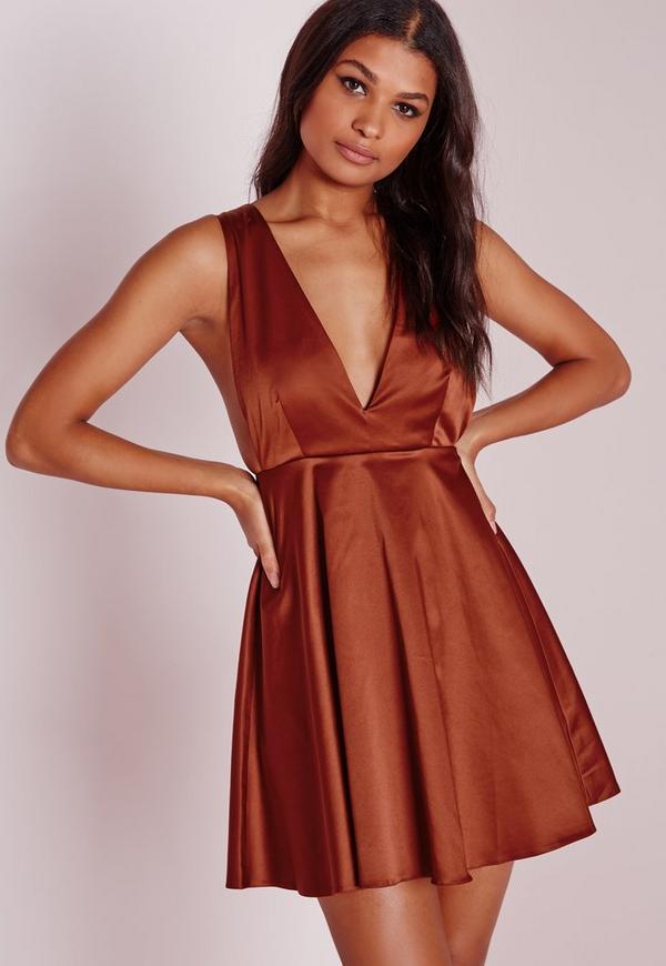 Silky Plunge Skater Dress Rust